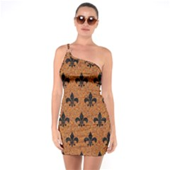 Royal1 Black Marble & Rusted Metal (r) One Soulder Bodycon Dress
