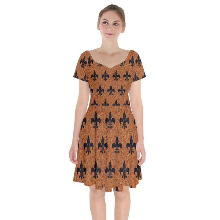ROYAL1 BLACK MARBLE & RUSTED METAL (R) Short Sleeve Bardot Dress
