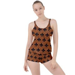 Royal1 Black Marble & Rusted Metal (r) Boyleg Tankini Set