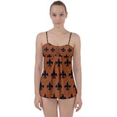 Royal1 Black Marble & Rusted Metal (r) Babydoll Tankini Set