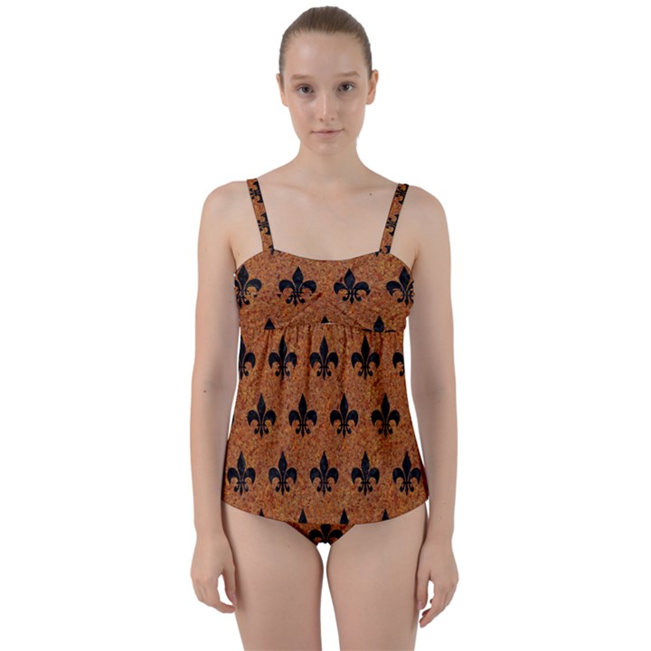 ROYAL1 BLACK MARBLE & RUSTED METAL (R) Twist Front Tankini Set