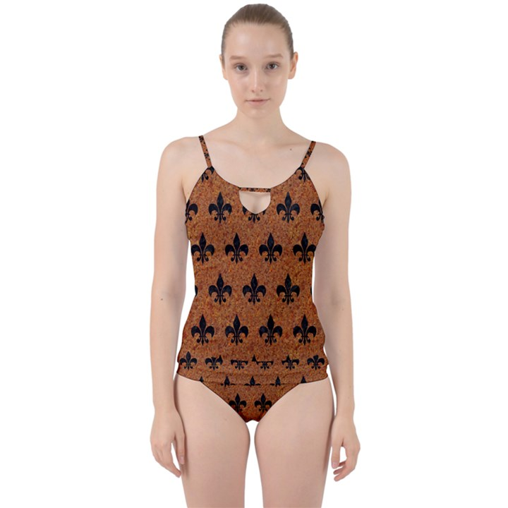 ROYAL1 BLACK MARBLE & RUSTED METAL (R) Cut Out Top Tankini Set