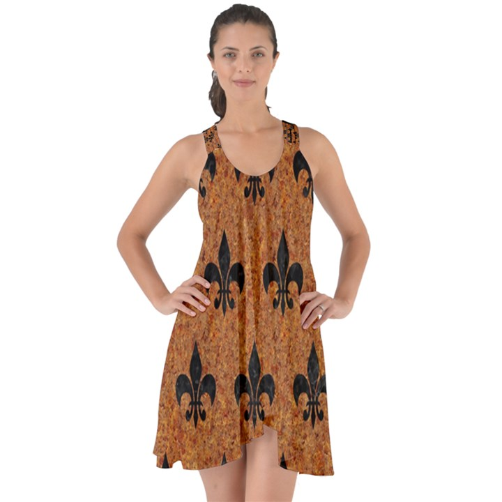 ROYAL1 BLACK MARBLE & RUSTED METAL (R) Show Some Back Chiffon Dress