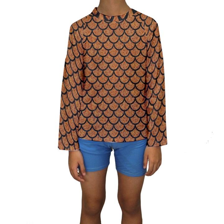 SCALES1 BLACK MARBLE & RUSTED METAL Kids  Long Sleeve Swimwear