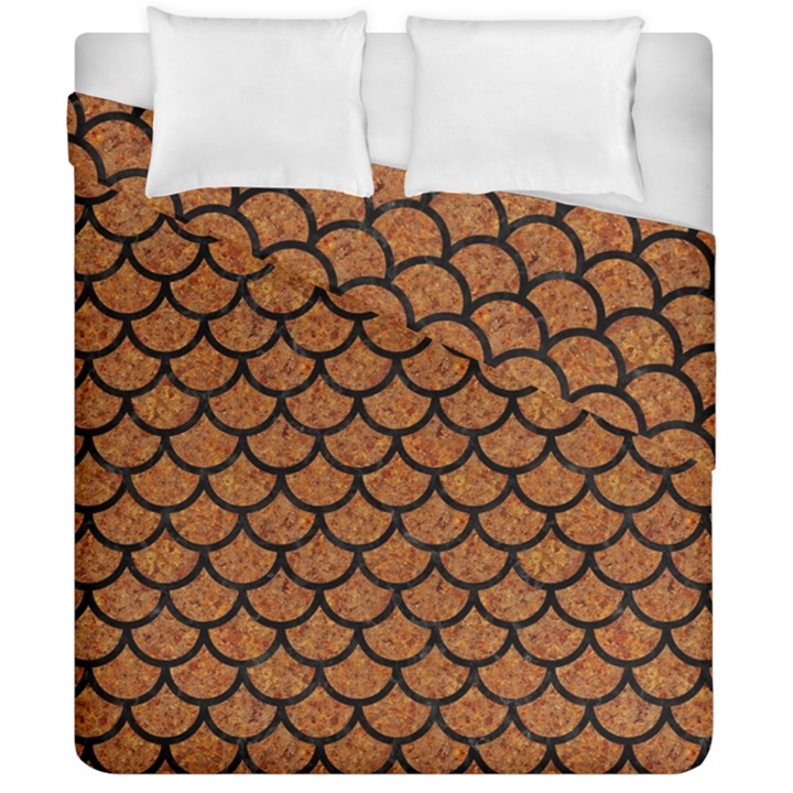 SCALES1 BLACK MARBLE & RUSTED METAL Duvet Cover Double Side (California King Size)