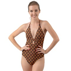 Scales1 Black Marble & Rusted Metal Halter Cut Out One Piece Swimsuit
