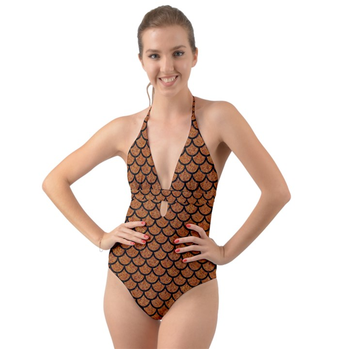 SCALES1 BLACK MARBLE & RUSTED METAL Halter Cut-Out One Piece Swimsuit