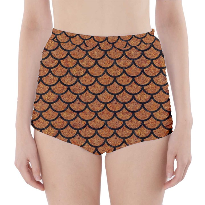 SCALES1 BLACK MARBLE & RUSTED METAL High-Waisted Bikini Bottoms