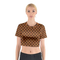 Scales1 Black Marble & Rusted Metal Cotton Crop Top