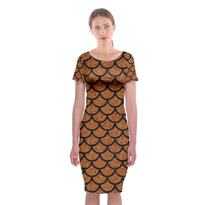 SCALES1 BLACK MARBLE & RUSTED METAL Classic Short Sleeve Midi Dress
