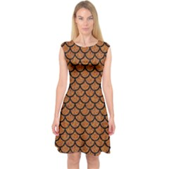 Scales1 Black Marble & Rusted Metal Capsleeve Midi Dress