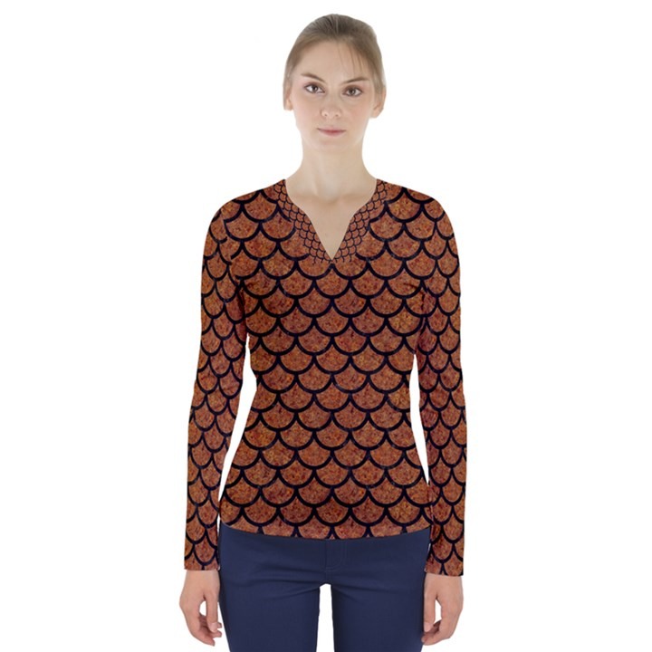 SCALES1 BLACK MARBLE & RUSTED METAL V-Neck Long Sleeve Top