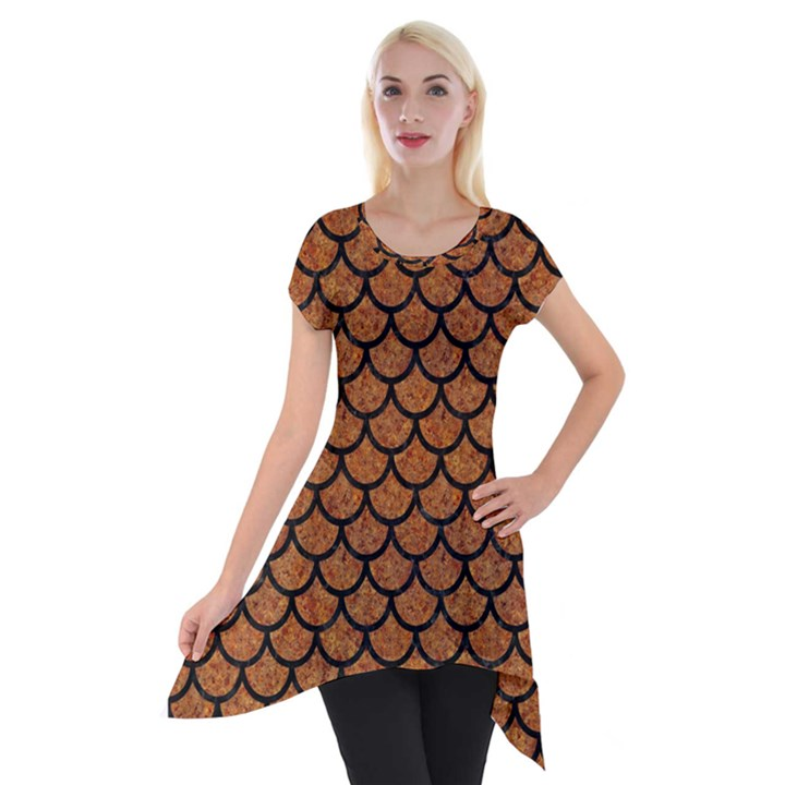 SCALES1 BLACK MARBLE & RUSTED METAL Short Sleeve Side Drop Tunic