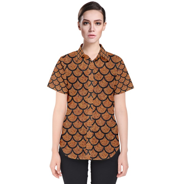SCALES1 BLACK MARBLE & RUSTED METAL Women s Short Sleeve Shirt