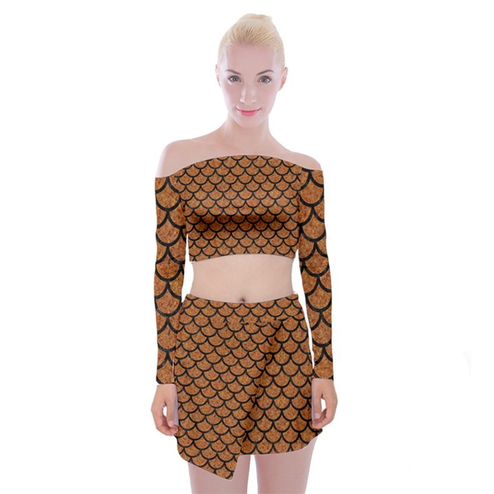 SCALES1 BLACK MARBLE & RUSTED METAL Off Shoulder Top with Mini Skirt Set