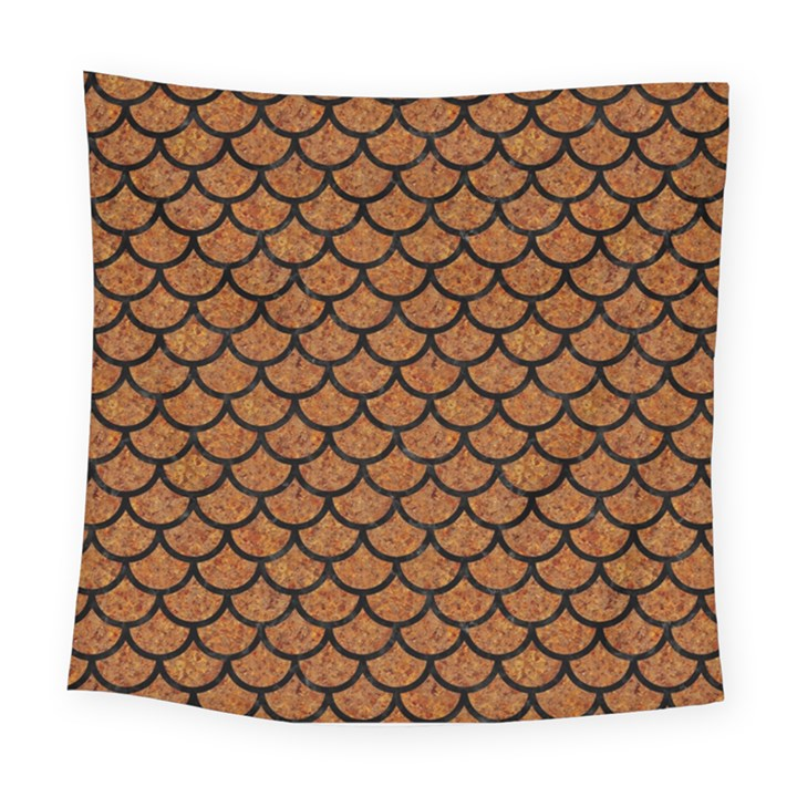 SCALES1 BLACK MARBLE & RUSTED METAL Square Tapestry (Large)