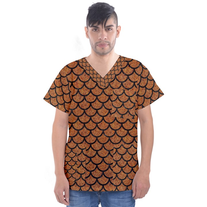 SCALES1 BLACK MARBLE & RUSTED METAL Men s V-Neck Scrub Top