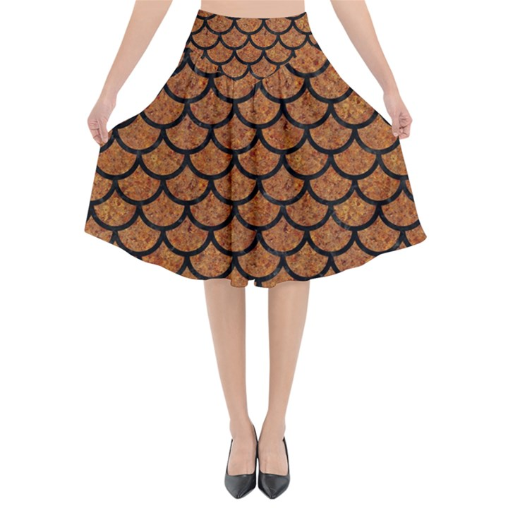 SCALES1 BLACK MARBLE & RUSTED METAL Flared Midi Skirt