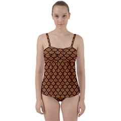Scales1 Black Marble & Rusted Metal Twist Front Tankini Set