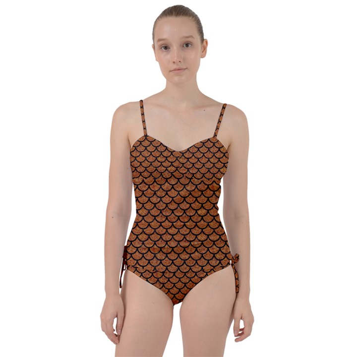 SCALES1 BLACK MARBLE & RUSTED METAL Sweetheart Tankini Set