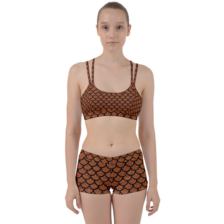 SCALES1 BLACK MARBLE & RUSTED METAL Women s Sports Set