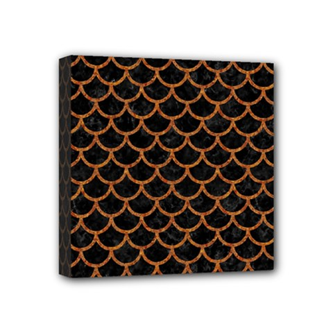 Scales1 Black Marble & Rusted Metal (r) Mini Canvas 4  X 4