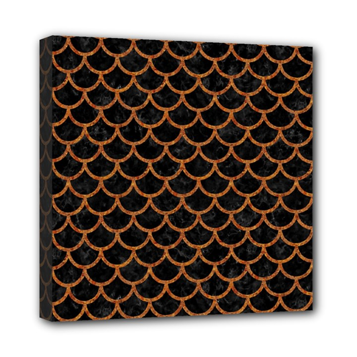 SCALES1 BLACK MARBLE & RUSTED METAL (R) Mini Canvas 8  x 8