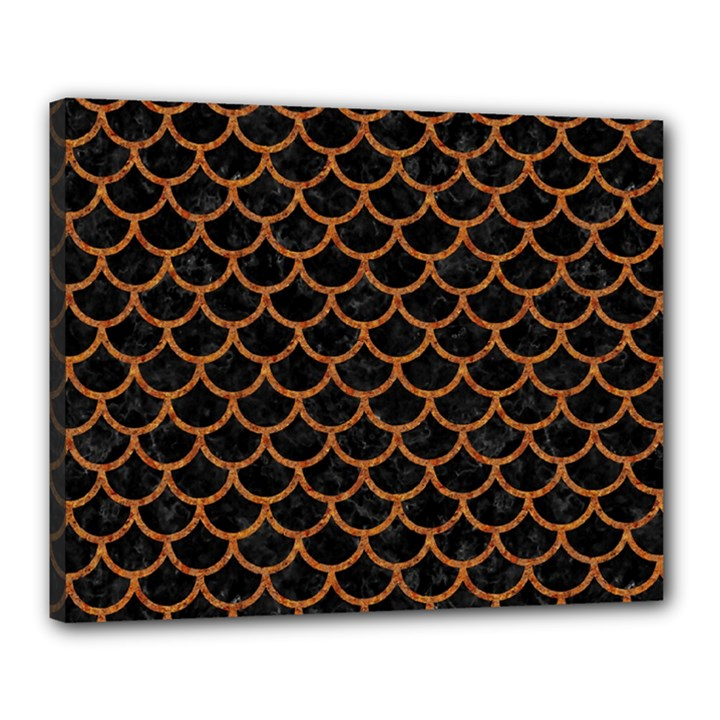 SCALES1 BLACK MARBLE & RUSTED METAL (R) Canvas 20  x 16