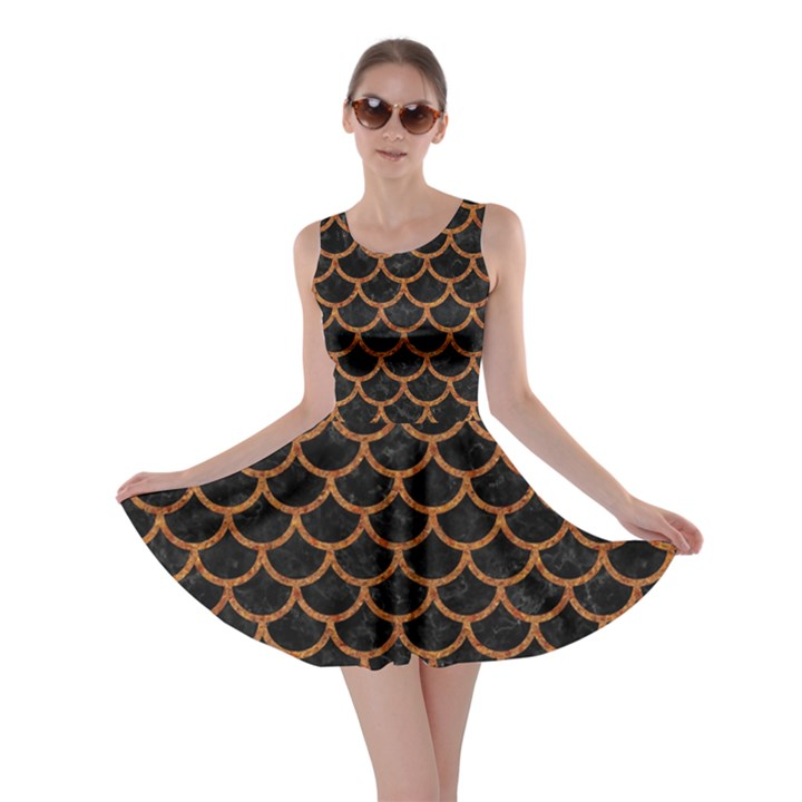 SCALES1 BLACK MARBLE & RUSTED METAL (R) Skater Dress