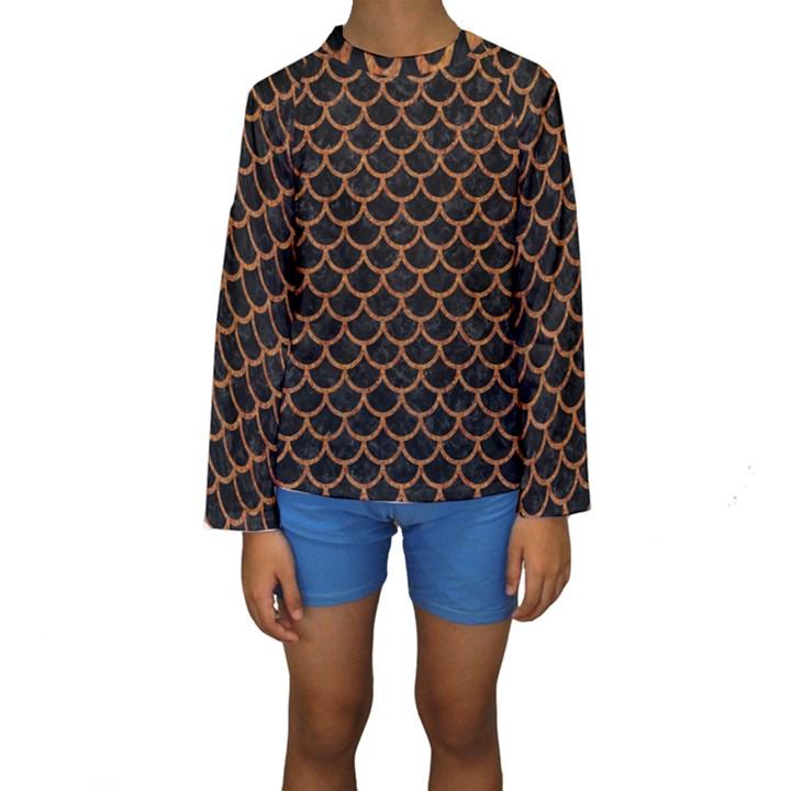 SCALES1 BLACK MARBLE & RUSTED METAL (R) Kids  Long Sleeve Swimwear
