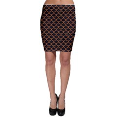Scales1 Black Marble & Rusted Metal (r) Bodycon Skirt