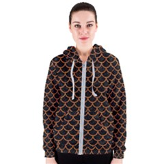 Scales1 Black Marble & Rusted Metal (r) Women s Zipper Hoodie