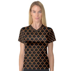 Scales1 Black Marble & Rusted Metal (r) V Neck Sport Mesh Tee