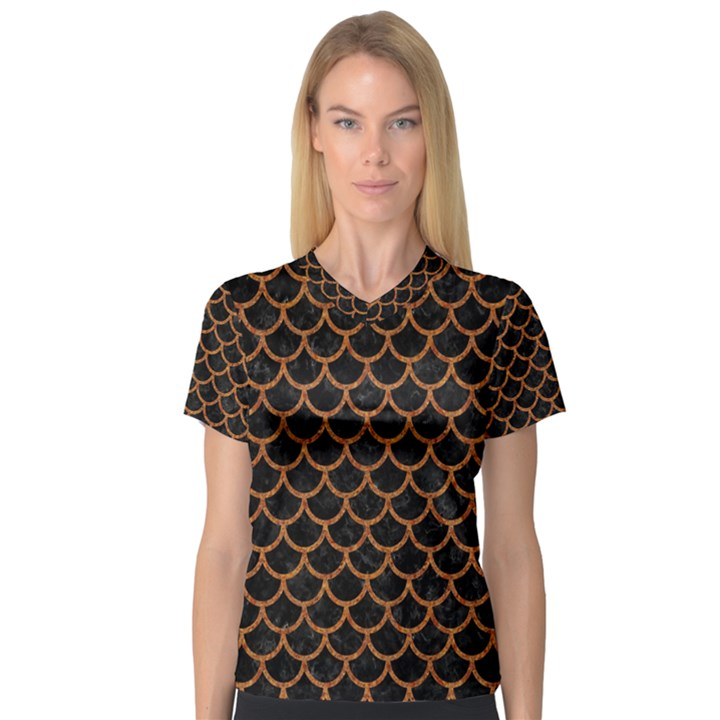 SCALES1 BLACK MARBLE & RUSTED METAL (R) V-Neck Sport Mesh Tee