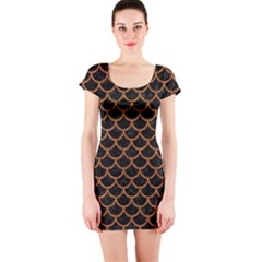 Scales1 Black Marble & Rusted Metal (r) Short Sleeve Bodycon Dress