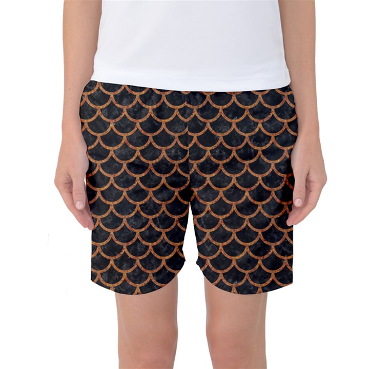 SCALES1 BLACK MARBLE & RUSTED METAL (R) Women s Basketball Shorts