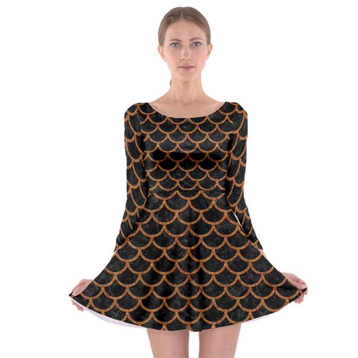 SCALES1 BLACK MARBLE & RUSTED METAL (R) Long Sleeve Skater Dress