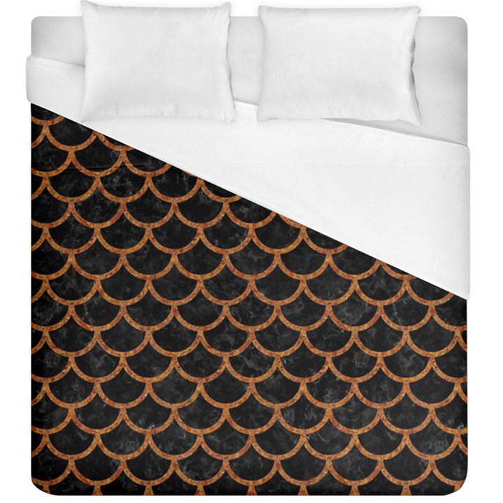 SCALES1 BLACK MARBLE & RUSTED METAL (R) Duvet Cover (King Size)
