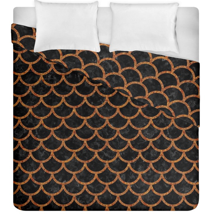 SCALES1 BLACK MARBLE & RUSTED METAL (R) Duvet Cover Double Side (King Size)