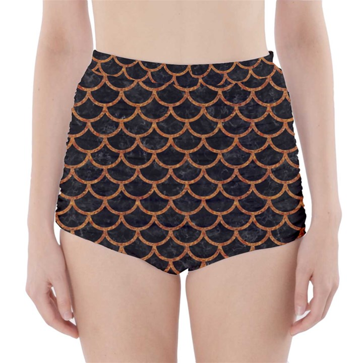 SCALES1 BLACK MARBLE & RUSTED METAL (R) High-Waisted Bikini Bottoms