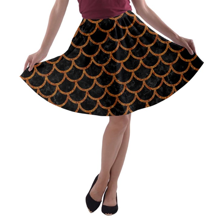 SCALES1 BLACK MARBLE & RUSTED METAL (R) A-line Skater Skirt