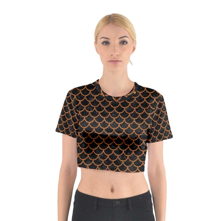 SCALES1 BLACK MARBLE & RUSTED METAL (R) Cotton Crop Top
