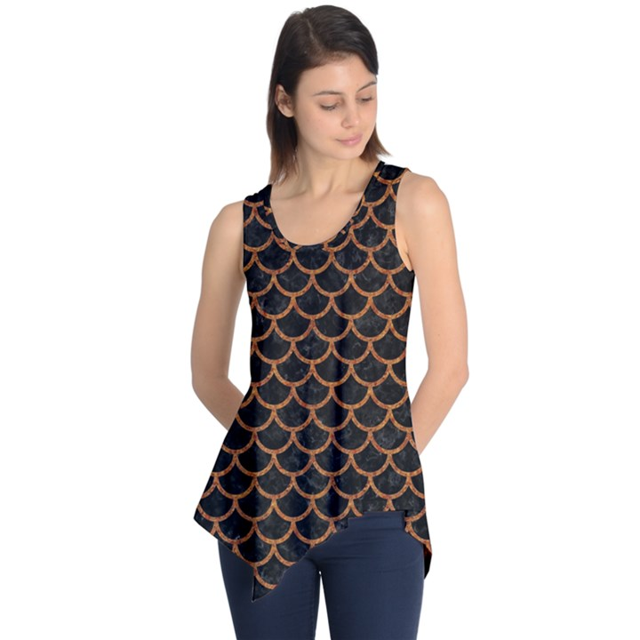 SCALES1 BLACK MARBLE & RUSTED METAL (R) Sleeveless Tunic