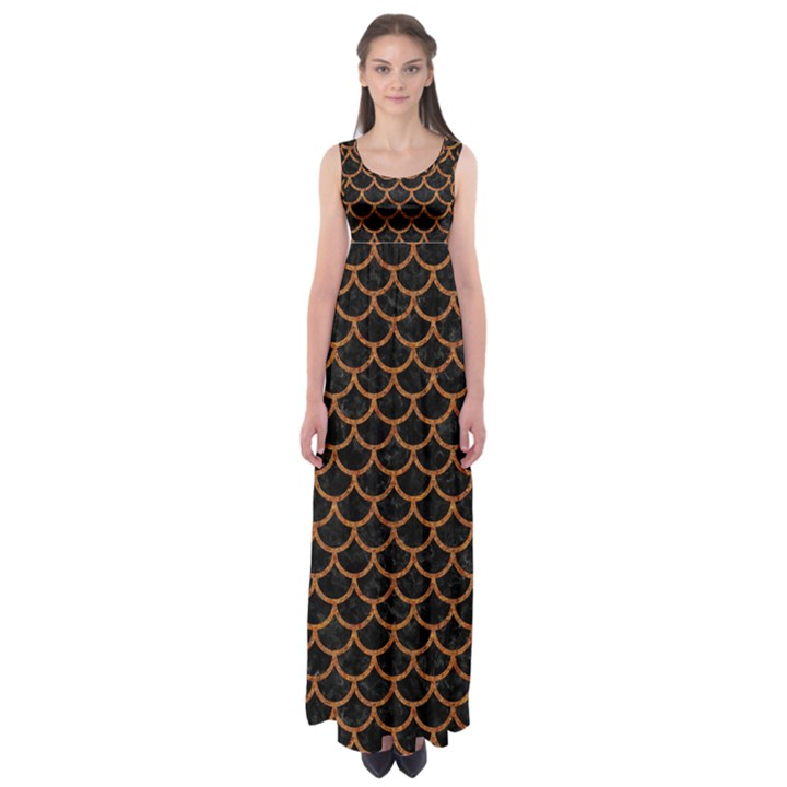 SCALES1 BLACK MARBLE & RUSTED METAL (R) Empire Waist Maxi Dress