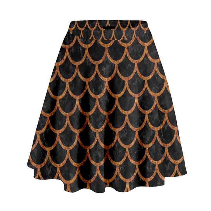 SCALES1 BLACK MARBLE & RUSTED METAL (R) High Waist Skirt
