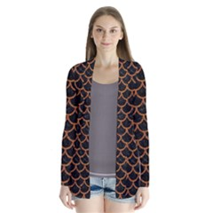 Scales1 Black Marble & Rusted Metal (r) Drape Collar Cardigan