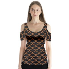 Scales1 Black Marble & Rusted Metal (r) Butterfly Sleeve Cutout Tee