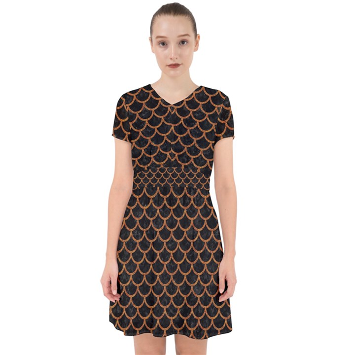 SCALES1 BLACK MARBLE & RUSTED METAL (R) Adorable in Chiffon Dress
