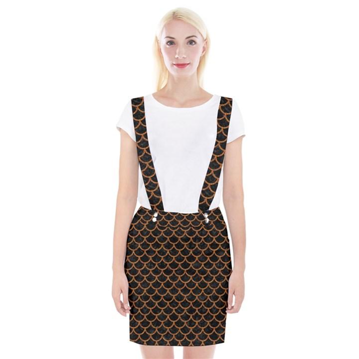 SCALES1 BLACK MARBLE & RUSTED METAL (R) Braces Suspender Skirt