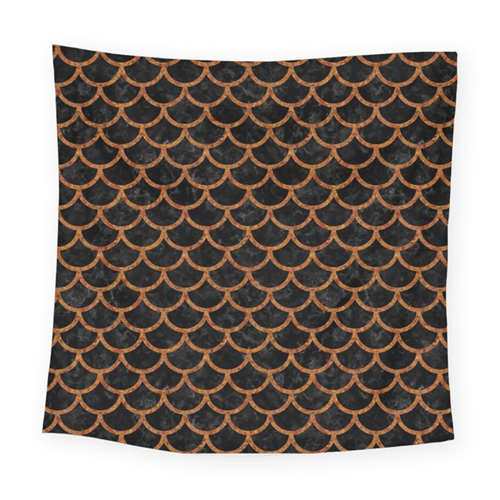 SCALES1 BLACK MARBLE & RUSTED METAL (R) Square Tapestry (Large)